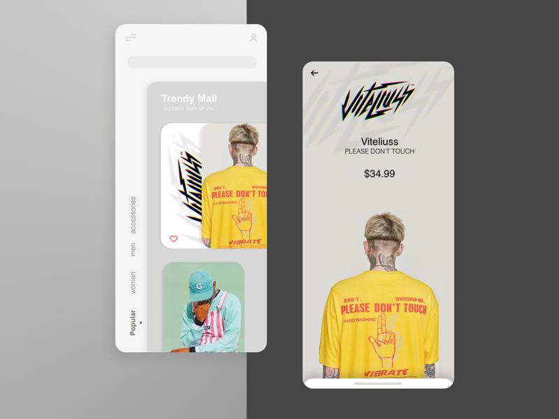 clothes shopping ui flat web website art vector ux ui minimal design app