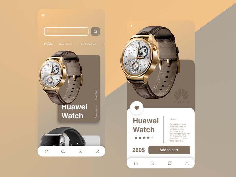 watch online store UI illustrator flat website web vector ux ui minimal design app