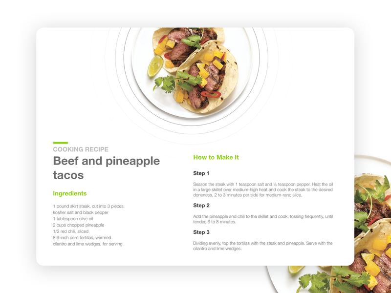 Food Recipe food and beverage minimal branding recipe app food delivery recipe food