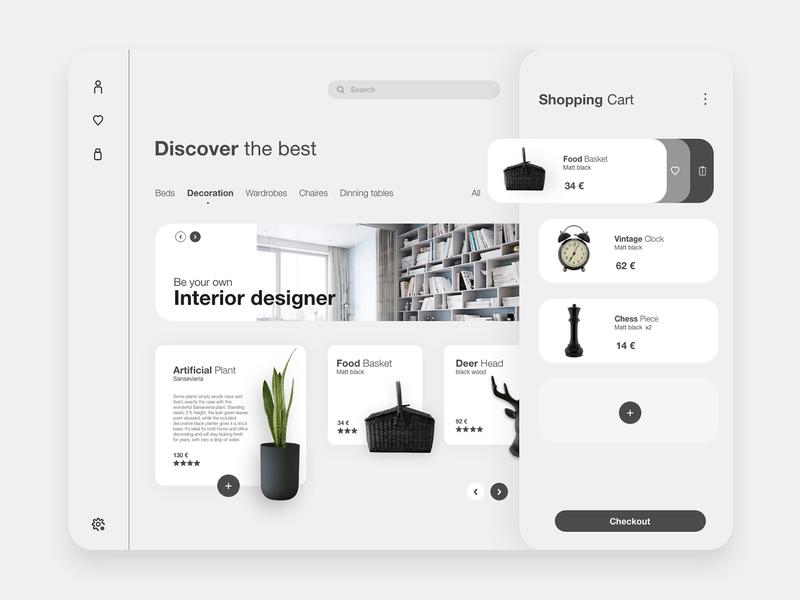 Home Interior Decoration store ux website web app minimal design ui app design decoration interior store design store app store