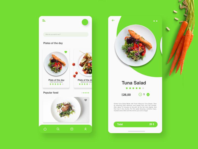 Simple minimalist food ordering app minimal vector flat art animation ux ui illustrator design app