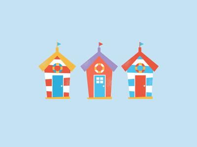 Beach Huts illustrater design icons