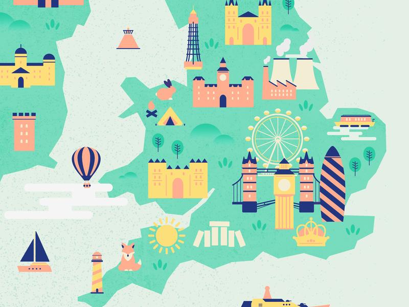 Illustrated map britain uk mapdesign map colourful illustration graphic design design