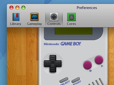 OpenEmu Preferences design mac openemu application osx video games emulation roms consoles controllers nintendo gameboy ui gui tab bar icons