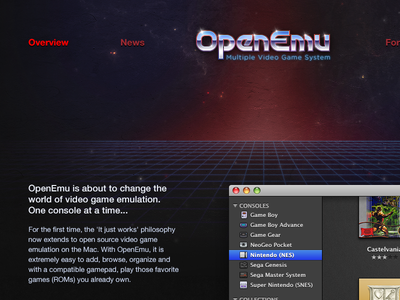 OpenEmu  Website openemu website interface ui ux video games games emulator open source