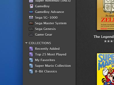 OpenEmu Collections ui design video games osx application openemu gui mac emulation icons