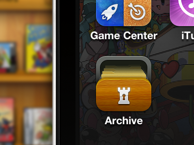 Archive Ios App Icon retro games wood web ios iphone app application video game logo drawer archive database icon