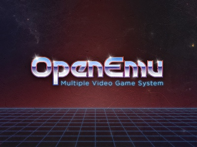 OpenEmu Logo Application openemu retro transformers chrome 80s 1980s emulation video games grunge grid tron typography