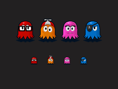 Revenge Of The Nerds ghosts pacman game pixel art inky clyde pinky