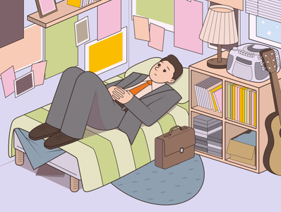 Teenage Bedroom nostalgic adult character mood growing up adobe illustrator character-illustration digital illustration