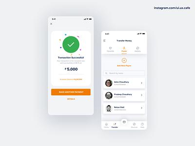 Banking app - Transfer Money banking transfermoney success confirmation vector branding userexperience userinterface appdesign uidesign ux ui