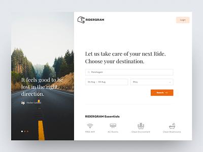Ridergram (Landing page) biking userinterface motorcycle travel landingpage ux ui