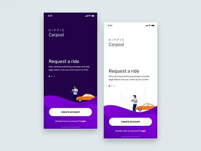 Carpool App (Dark v/s Light) adobexd madewithxd purple register login onboarding carpool illustration uxdesign ux