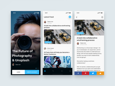 Blog App - MadeWithXd appdesign photography blue iosdesign madewithadobexd madewithxd blogapp blog ux ui