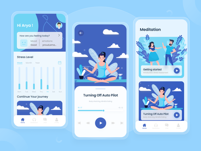 Meditation App uiux clean ui mobile ui yoga physiotherapy ios chilling mobile app blue clean relaxing stress app meditation app meditation mobile ux ui app