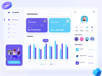 Dompetku Dashboard - Wallet Dashboard banking dashboard money finance dashboard design dashboard app webdesign clean ui ux ui financial design uiux wallet finances wallet dashboard finance dashboard web design website dashboad dashboard ui