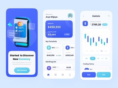 Cryptocurrency App ux app ui ethereum bitcoin wallet bitcoins crypto exchange crypto currency cryptocurrency mobile app mobile design crypto wallet investment app bitcoin cryptocurrency app crypto app crypto