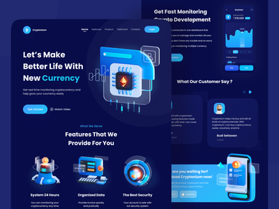 Cryptonium - Cryptocurrency Landing Page 3d design uiux cryptocurrency app landingpage ux ui investment website mining bitcoin bitcoin website landing page crypto wallet crypto website stock website webdesign web design trading crypto cryptocurrency