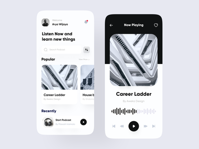 Podcast App app ux ui minimalist clean player song app musics podcasts podcasting listening app listeing streaming spotify playlist music music app podcast app podcast