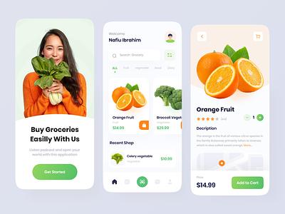 Grocery App design mobile app uiux orange app fresh fruit store app grocery store clean ui ux ui app groceries fruit fruit app vegetable app vegetables vegetable grocery grocery app