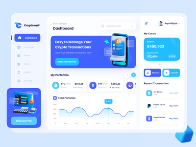 Cryptowall - Cryptocurrency Dashboard ui mobile webdesign crypto currency clean money dashboard ui wallet dashboard etherium bitcoin dashboard bitcoin dashboard crypto dashboard cryptocurrency dashboard wallet chart trading graphic crypto cryptocurrency