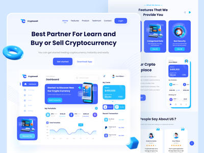 Cryptowall - Cryptocurreny Landing Page uiux glass effect 3d design homepage testimonial header web landing page website crypto wallet web wallet landing page crypto wallet crypto currency crypto dashboard crypto landing page cryptocurrency landing page crypto web cryptocurency web cryptocurreny crypto