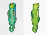 Golf Hole Illustration roughs approaches tees fairways hand drawn illustration golf course golf hole golf