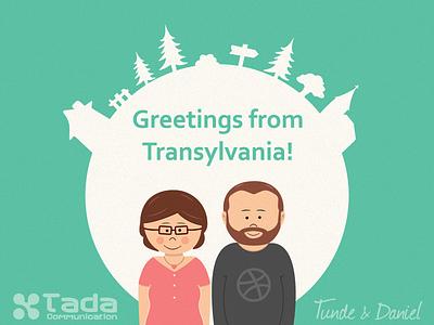 Greetings from Transylvania illustration transylvania character design smile pine