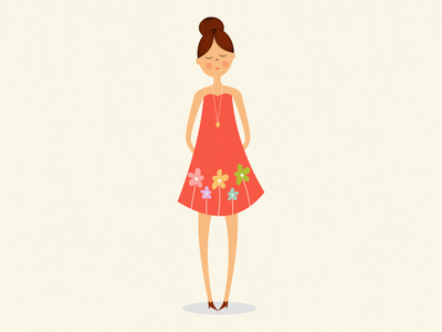 Girl with floral dress illustration character design girl flowers