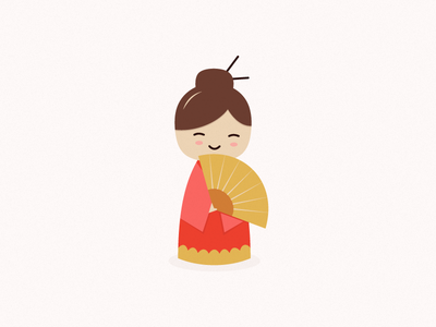 Chinese Girl illustration character kawaii chinese girl fan