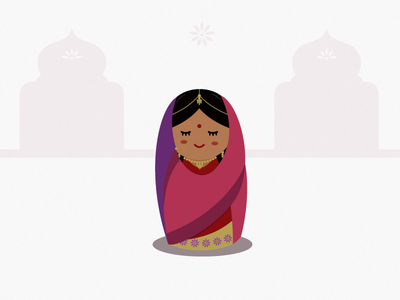 Indian Girl character design illustration indian kawaii