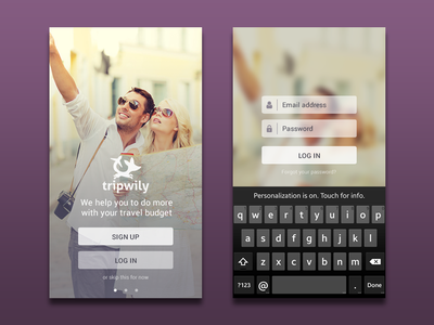 Tripwily - Splash and login screen  ui mobile app mockup travel login button