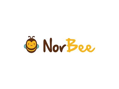 NorBee logo illustration kawaii bee honey logo