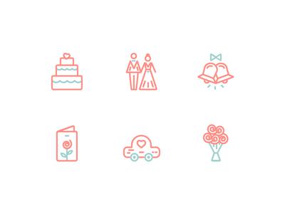 Wedding Icons cake bells invitation car flower celebration icons marriage wedding
