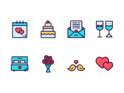 Valentine's Day Icon Set icon couple love wedding valentines day