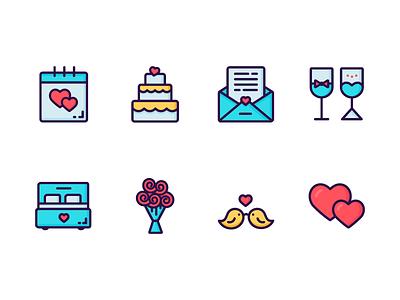 Valentine's Day Icon Set icon couple love wedding valentines day