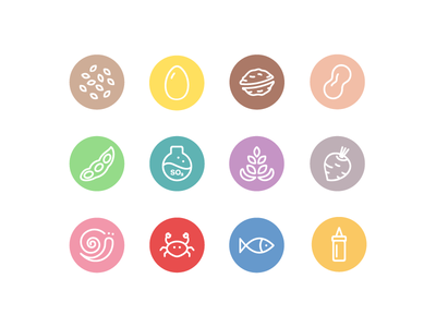 Food Allergens Icons cooking fish snail crab celeriac lupin soy egg nuts icons food allergens
