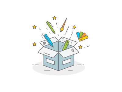Creative Box style brush illustration color palette liner pencil pen creative box