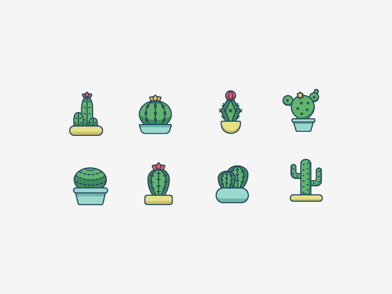 Cactus Icon Set plant illustration icon set icon succulents cactus