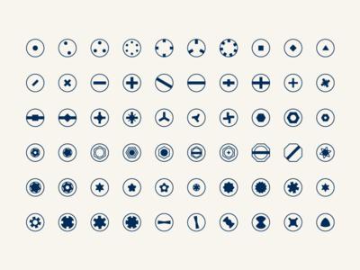 Screw Head Types shapes icon set icons screwdriver handyman tool box tool screw head screw