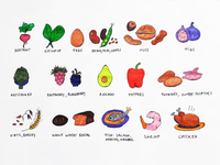 Handcrafted Icons handdrawn berries fruits food nuts vegetables icon illustration handcrafted icons