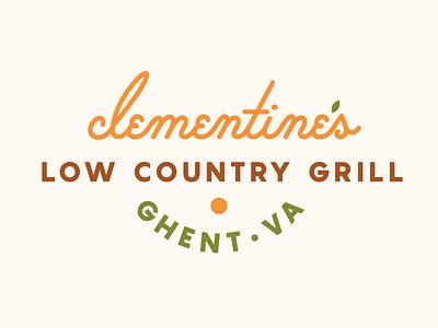 Clementine's orange typography script logo illustration