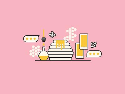 Potions app date love honey bumble design illustration