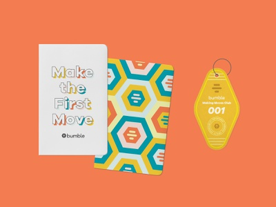 Make the First Move Notebook bumble color branding retreat hotel keychain notebook typography illustration