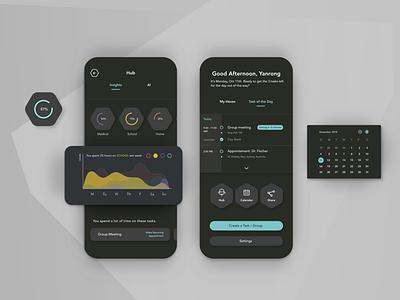 CODEX App design data visualization task management app calendar time management mobile