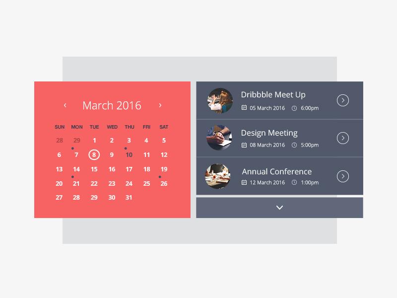 Calendar Web Widget : Event calendar by emma houghton dribbble