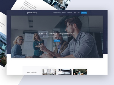 Perfficiency Website office map ui ux clean corporate website limely business modern blue