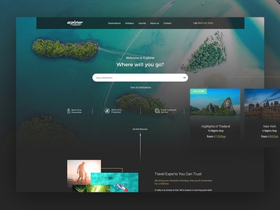 Explorer agency sun holiday interface ui ux dark modern clean holiday website travel
