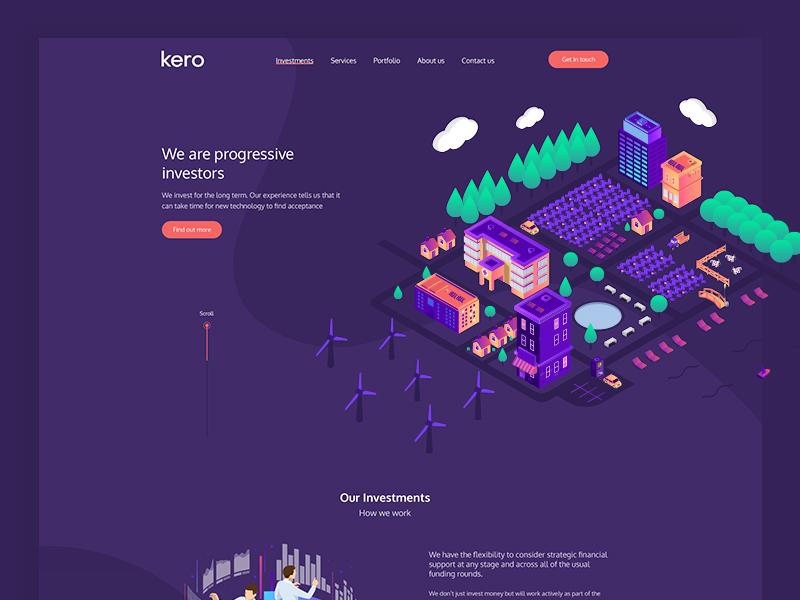 Kero Website Design illustration typography one page website vector isometric illustration purple website investors agency web design modern clean ui website ux