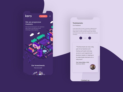 Kero Mobile corporate investment vector purple mobile app design web design design isometric illustration clean ux ui app mobile
